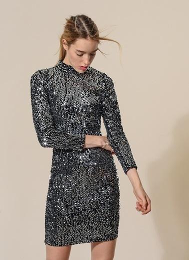 Agenda Payet İşlemeli Elbise Siyah